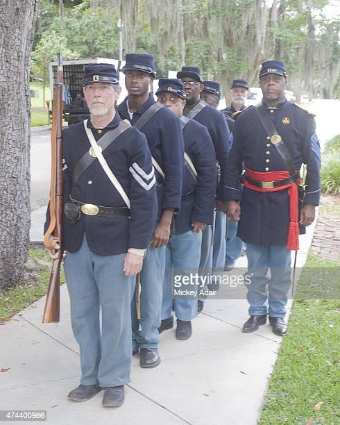 Members of the Leon Rifles Historical Reenactors and United States Colored Troops 2nd Infantry Regiment and Living History Association participate in...