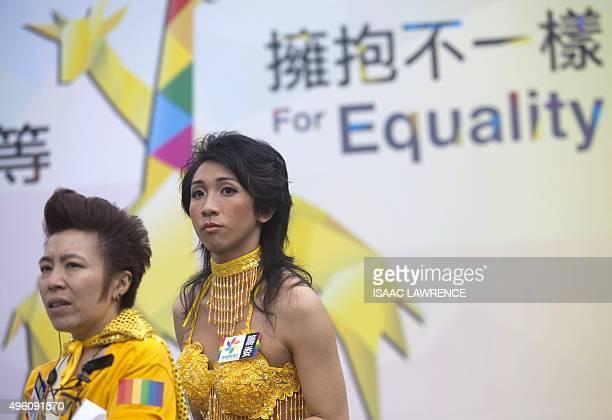 Members of the Lesbian, Gay, Bi-sexual and Transgender community take part in the LGBT parade in Hong Kong on November 6, 2015. Hong Kong's streets...