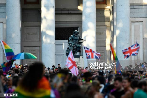 Members of the Lesbian Gay Bisexual Transgender Intersex and Queer community take part in the annual Pride parade in Madrid on July 6 2019