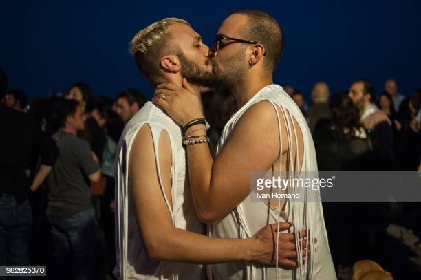 Members of the LGBT community kiss to claim free love during the parade of LGBT Salerno Pride 2018 organized by Arcigay Salerno to claim the civil...