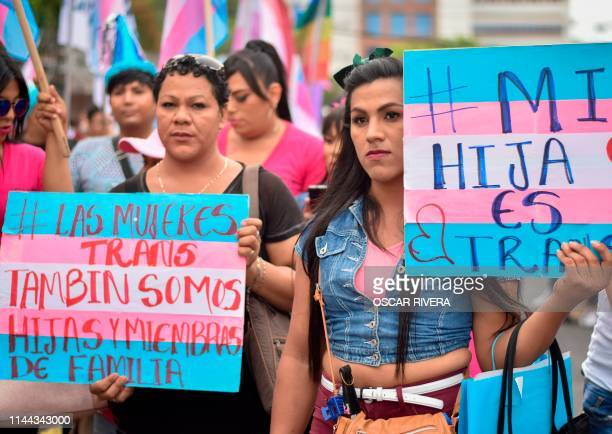 Members of the LGBTI community take part in a march demanding a Gender Identity Law on the International Day against Homophobia, Transphobia and...