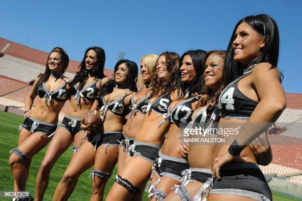 Members of the Lingerie Football League team called the Los Angeles Temptation train at the historic Los Angeles Memorial Coliseum on January 28 2010...