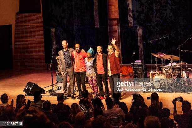 Members of the Lionel Loueke Trio and their special guests take a bow after a performance at Carnegie Hall's Zankel Hall, New York, New York,...