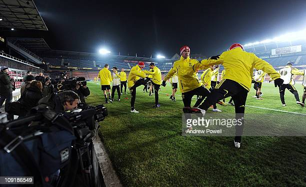 Members of the Liverpool squad in action during a training session ahead of their UEFA Europa League round of 32 first leg match against Sparta...