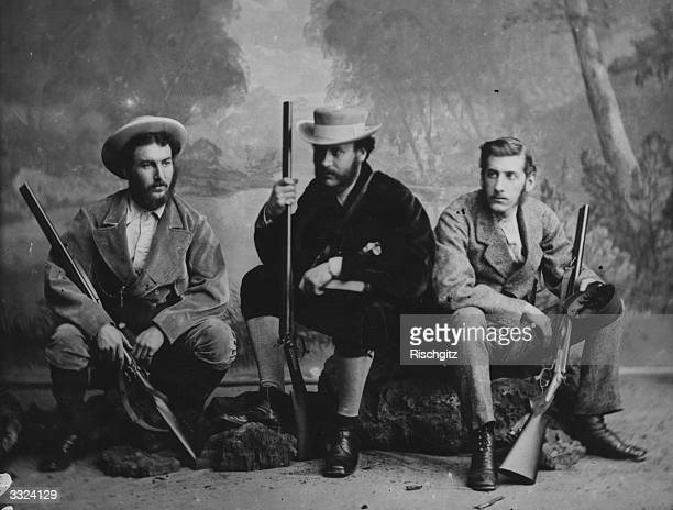 Members of the Livingstone Relief Expedition from left to right Lieutenant Henn Lieutenant Dawson and the son of explorer and missionary David...