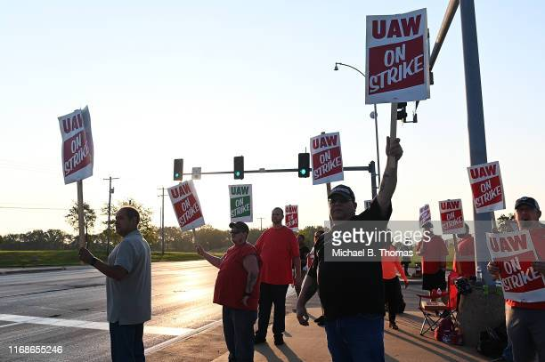 Members of the Local 2250 United Auto Workers Union picket outside the General Motors Assembly Plant on September 16 2019 in Wentzville Missouri...