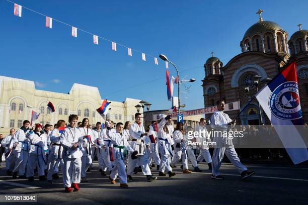 Members of the local karate club attend the parade in Banja Luka on January 9 2019 in Banja Luka Bosnia and Herzegovina Republika Srpska the Serbian...