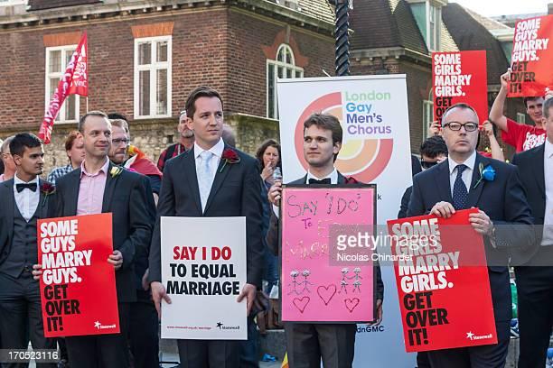 Members of the London Gay Men's Chorus outside Parliament