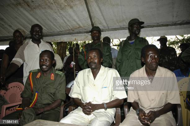 Members of the Lords Resistance Army high command Joseph Kony Vincent Otti and Okot Odhiambo all of whom are wanted by the International Criminal...