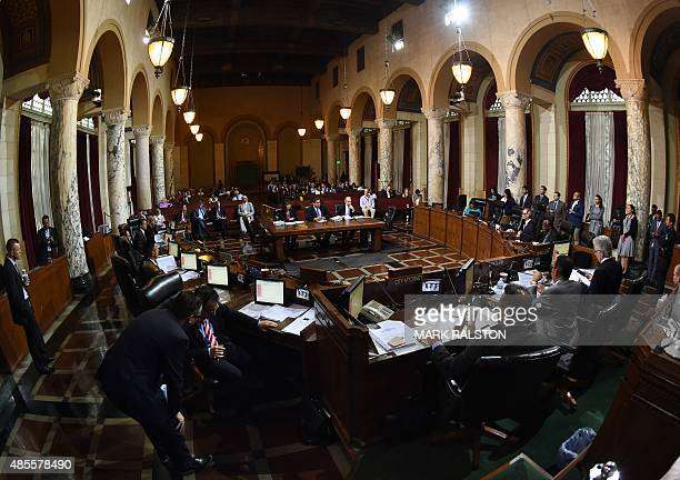 Members of the Los Angeles City Council's Ad Hoc Committee meet before offering its support to bring the 2024 Summer Olympics to Los Angeles...