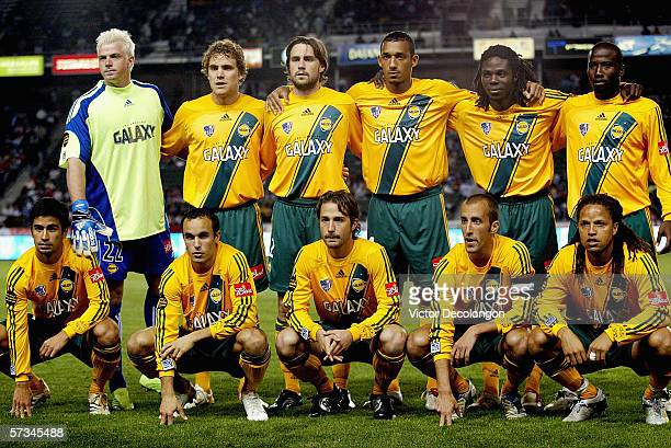 Members of the Los Angeles Galaxy pose for a team photo prior to their game against Chivas USA at Home Depot Center on April 15 2006 in Carson...