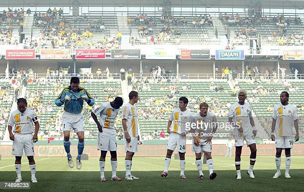 Members of the Los Angeles Galaxy wait for play to begin in the MLS match against Real Salt Lake at the Home Depot Center on June 17 2007 in Carson...