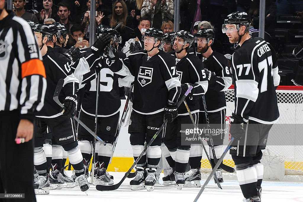 Members of the Los Angeles Kings celebrate after a game against the Edmonton Oilers at STAPLES Center on November 14, 2015 in Los Angeles, California.