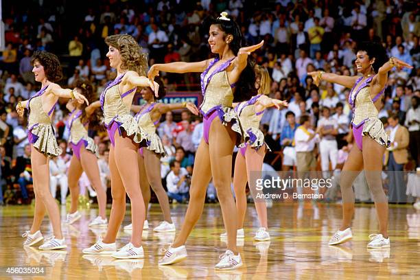 Members of the Los Angeles Lakers Laker Girls perform during a game circa 1985 at the Great Western Forum in Los Angeles California NOTE TO USER User...