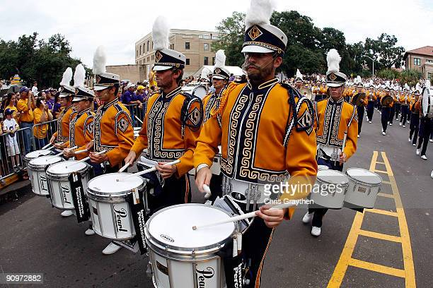 Members of the Louisiana State University Tigers marching band perform before playing the University of Louisiana-Lafatette Ragin' Cajuns at Tiger...