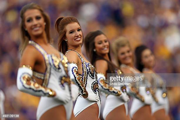 Members of the LSU Golden Girls perform before the game against the Florida Gators at Tiger Stadium on October 17 2015 in Baton Rouge Louisiana