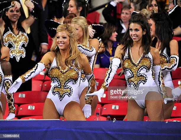 Members of the LSU Tigers Golden Girls perform during the ChickFilA Kickoff Game against the North Carolina Tar Heels at the Georgia Dome on...