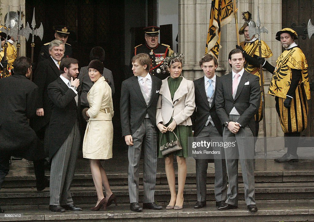 Members of the Luxembourg Royal Family arrive at Saint Rombouts Cathedral to attend the wedding of Archduchess Marie-Christine of Austria and Count Rodolphe of Limburg-Stirum on December 06 2008 in Mechelen, Belgium.