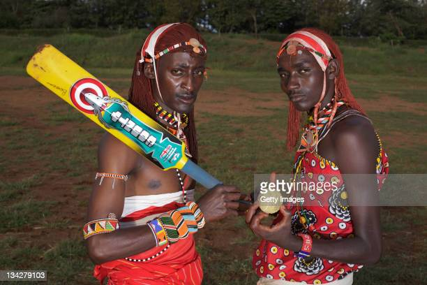 Members of the Maasai Cricket Warriors team in Kenya helped support the ICC's Think Wise awareness campaign on November 25 2011 in Laikipia Kenya...