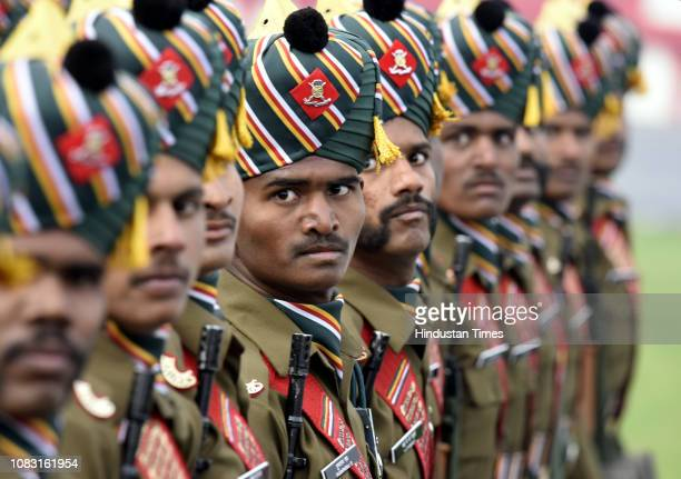 Members of the Madras regiment of the Indian Army during the Army Day Parade at Cariappa Parade Ground on January 15 2019 in New Delhi India The Army...