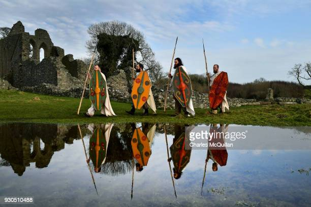 Members of the Magnus Viking association take part in the reenactment of Saint Patrick's first landing in Ireland at Inch Abbey on March 11 2018 in...