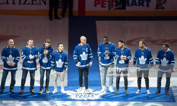 Members of the Major League Soccer 2017 Championship Team Toronto FC on hand to drop the ceremonial face off from left to right President Bill...