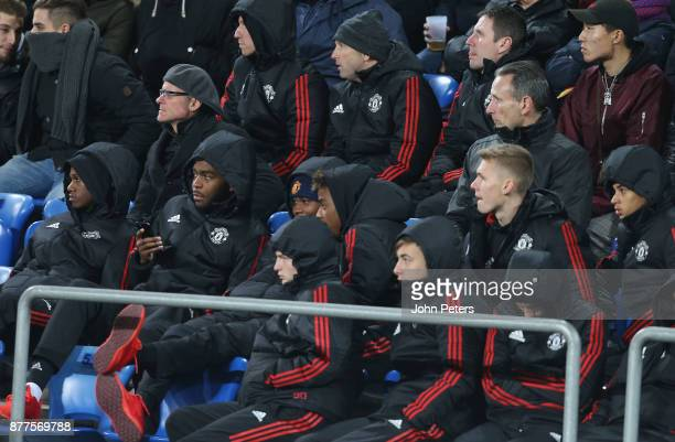 Members of the Manchester United U19 team watch from the stand during the UEFA Champions League group A match between FC Basel and Manchester United...