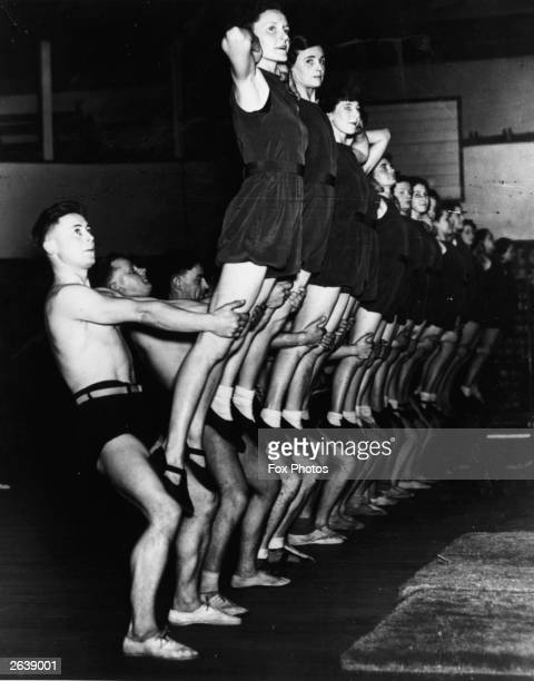 Members of the Manchester YMCA practising for a fitness display at the Free Trade Hall