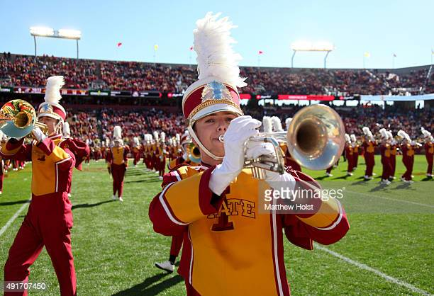 Members of the marching band perform before the matchup between the Iowa State Cyclones and the Kansas Jayhawks on October 3 2015 at Jack Trice...