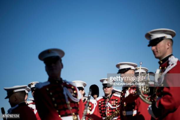 TOPSHOT Members of the Marine Band wait for Deputy Secretary of Defense Patrick Shanahan and Acting Minister of National Defense of Afghanistan...