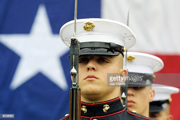 Members of the Marine Corps Band participate March 2 2001 in the parade in Austin Texas that honors the State's 165th year of Independence