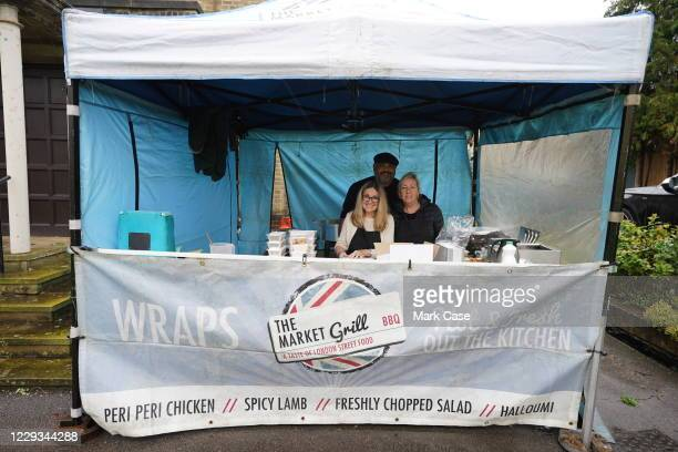 Members of The Market Grill give up their free time to help feed the volunteers and raise money on October 29, 2020 in London, England. Protest...