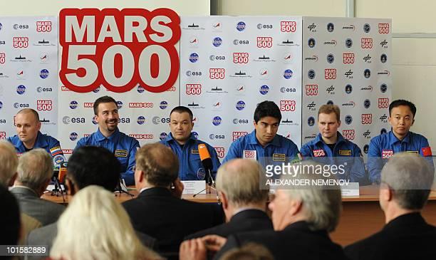 Members of the Mars500 crew Alexey Sitev of Russia Romain Charles of France Sukhrob Kamolov of Russia Diego Urbina of Italy Alexander Smoleevskiy of...