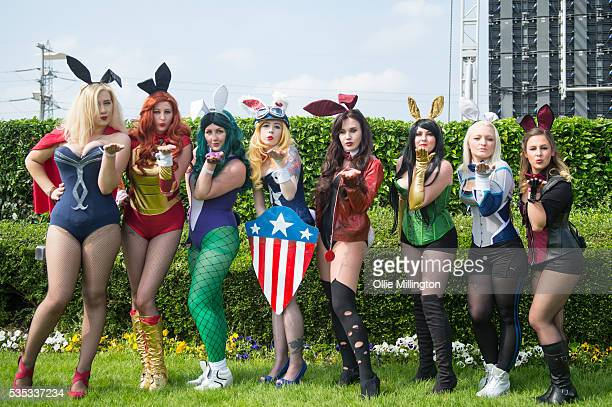 Members of The Marvel Bunnies appear on Day 1 of MCM London Comic Con at The London ExCel on May 27 2016 in London England