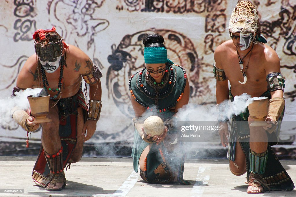 Members of the Maya people of Guatemala perform a ceremonial ritual in honor of the sun on July 08, 2016 in San Salvador, El Salvador. Members of Guatemalan Maya people participated in a presentation of the ancient and traditional Mesoamerican Ballgame which was played, according to the discoveries, by many civilizations in Mesoamerica such as Mayas, Nahuas and Olmecas.