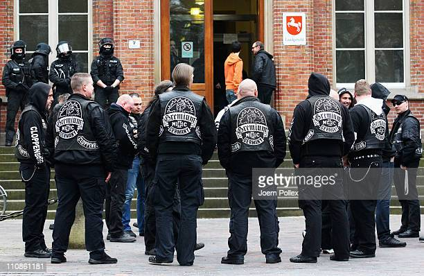 Members of the MC Gremium motorcycle gang are seen in front of the court house on the first day of the trial for three members of the motorcycle gang...