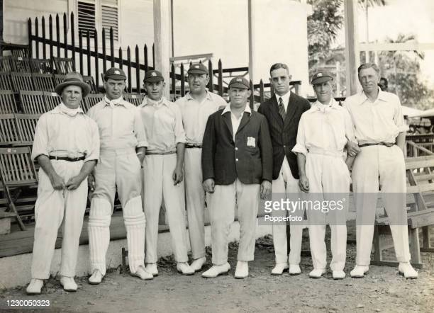 Members of the MCC England cricket team prior to their match against the West Indies at Queen's Park Oval in Port of Spain, Trinidad, circa 30th...