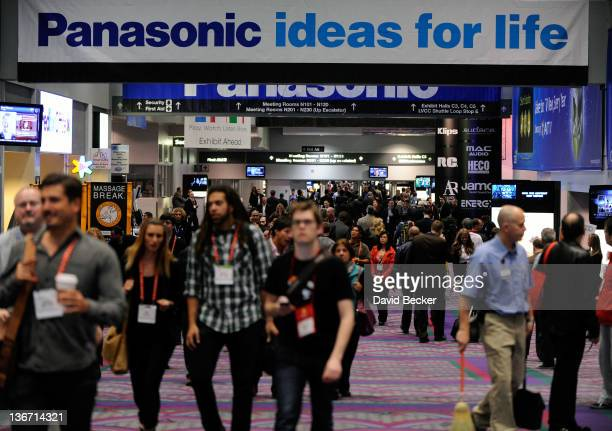 Members of the media and exhibitors attend the 2012 International Consumer Electronics Show at the Las Vegas Convention Center January 10 2012 in Las...