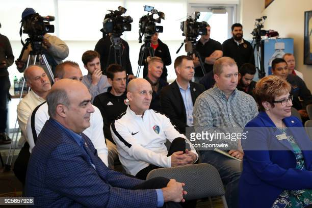 Members of the media and local professional soccer coaches and staff attend the press conference including NCFC owner Steve Malik North Carolina...
