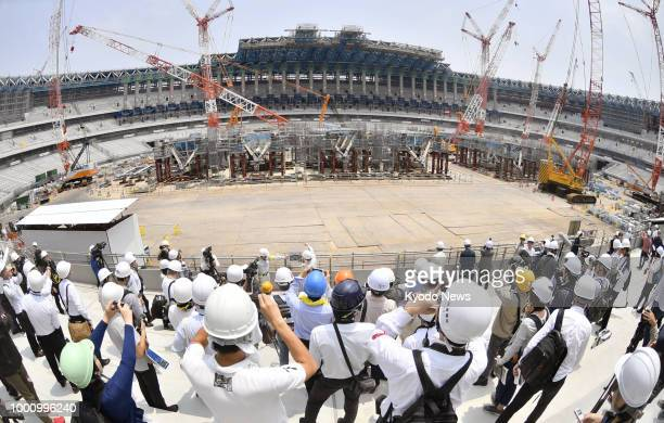 Members of the media are given a tour of Japan's new National Stadium the main venue of the 2020 Tokyo Olympics and Paralympics now under...