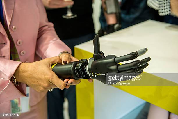 Members of the media are introduced to the ilimb quantum by Touch Bionics on June 22 2015 in Lyon France The device an electrically powered...
