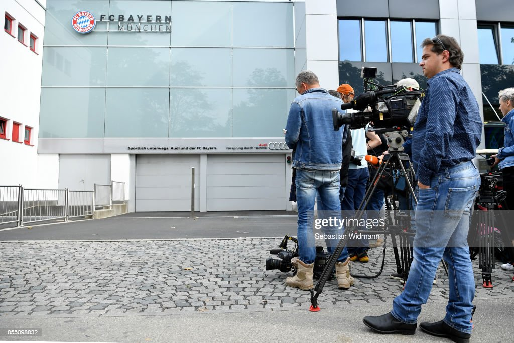 Members of the media are seen at Saebener Strasse training ground on September 28, 2017 in Munich, Germany. According to media sources FC Bayern Muenchen has sacked head coach Carlo Ancelotti after the 3 - 0 defeat in last night's UEFA Champions League match against Paris Saint-Germain.
