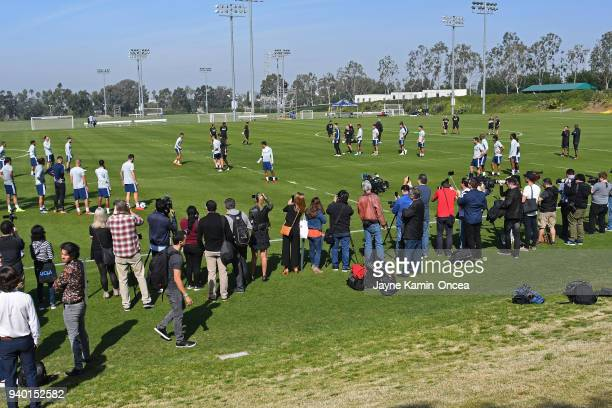 Members of the media cover the first practice session of Zlatan Ibrahimovic of the Los Angeles Galaxy at StubHub Center on March 30 2018 in Carson...