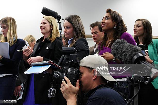 Members of the media focus on Australian Opposition Leader Tony Abbott during a press conference at Headspace on August 30 2013 in Melbourne...