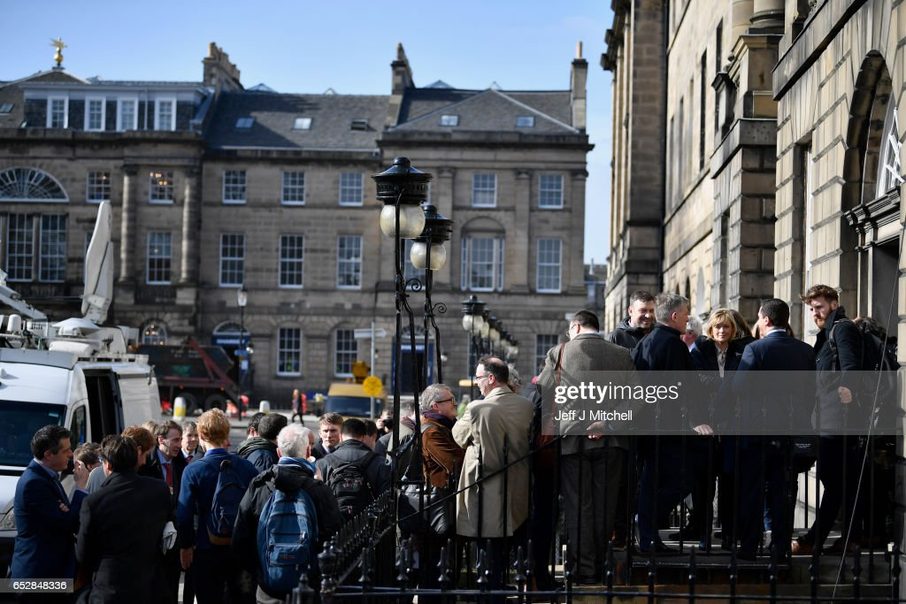 Members of the media gather at Bute House on March 13, 2017 in Edinburgh, Scotland. Scotland's First Minister Nicola Sturgeon, has confirmed she will ask for permission to hold a second Scottish independence referendum.