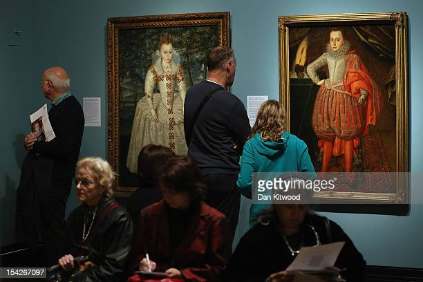 Members of the media gather in a gallery during a press preview for 'The Lost Prince' The Life and Death of Henry Stuart, at the National Portrait...