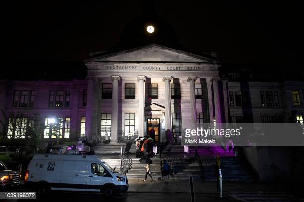 People gather outside the Montgomery County Courthouse on the first day of sentencing in Bill Cosby's sexual assault trial on September 24 2018 in...