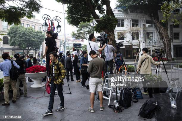Members of the media gather outside the Sofitel Legend Metropole Hanoi hotel in Hanoi, Vietnam, on Thursday, Feb. 28, 2019. U.S. President Donald...