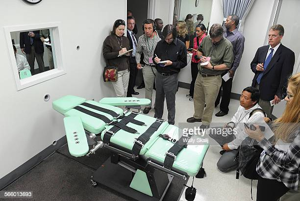 Members of the media get a look inside the new lethal injection chamber at San Quentin State Prison The new facility costs $853