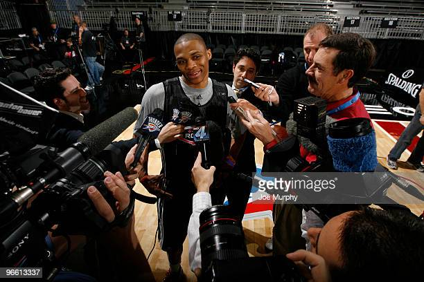 Members of the media interview Russell Westbrook of the Oklahoma City Thunder during media availibilitye on center court at Jam Session presented by...